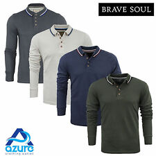 Mens Polo Shirt Brave Soul 'Kennedy' Collar Long Sleeved New Summer S-XXL
