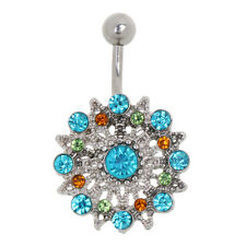 Silver Gold Stainless Steel Dangle Navel Belly Ring Reverse Piercing Jewelry