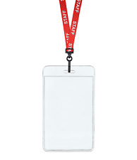 Red STAFF ID Lanyard Neck Strap Plastic Clip & Vertical Badge Card Holder Pouch