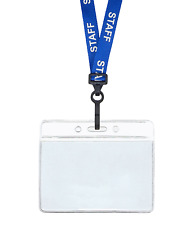 Blue STAFF ID Lanyard Neck Strap Plastic Clip Horizontal Badge Card Holder Pouch