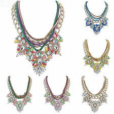 Woman Fashion Candy Color Crystal Pendant Statement Bib Chain Necklace Jewelry