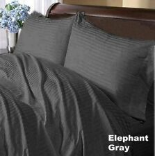 1000TC EGYPTIAN COTTON COMPLETE BEDDING ITEMS ELEPHANT GREY STRIPED ALL SIZES