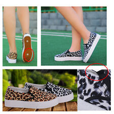 womens Leopard Breathable faux suede casual flats Slip on Loafers Shoes Sneaker
