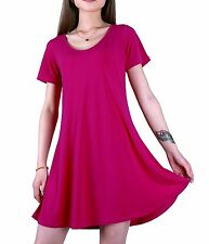 Favelem Womens Short Sleeve Comfy Flowy Loose Fit Long Tunic Top T shirt Dresses
