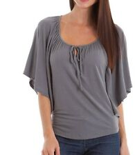 NWOT Tresics Dark Gray Flutter Batwing Keyhole Tie Front Top S, M, L