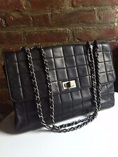 Authentic CHANEL Black Chocolate Bar Reissue Jumbo Flap