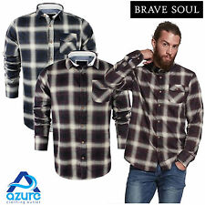 Mens Long Sleeve Shirt Brave Soul Impala Brushed Cotton Flannel Check Lumberjack