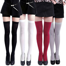 Women's Pure Color Opaque Sexy Thigh High Stockings Over The Knee Socks Deluxe