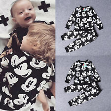 2pcs Kid Baby Boy Mickey Mouse Outfit Tops T Shirt+Pants Set Tracksuits Clothes