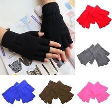 Women Men Soft Half Finger Gloves Winter Warmer Knitted Mittens Fingerless POP