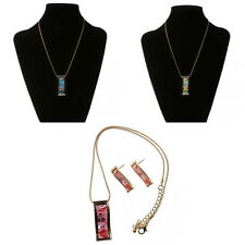 Chic Ethnic Bright Color Rectangle Enamel Pendant Necklace Earring Jewelry Set