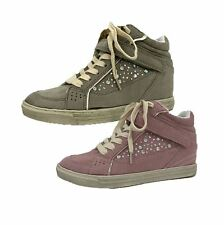 Distressed effect Diamante studded hi-top trainers / ankle boots