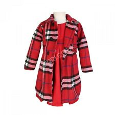 3PC Girls Red Winter Coat Dress and Hat, Girls Formal Winter Coats and Dress Set