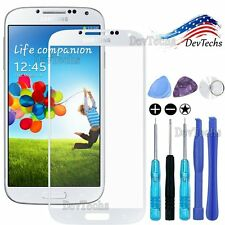 Replacement Front Outer Screen Glass Lens for White Samsung Galaxy S4 Tools Kit