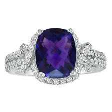 14K WHITE GOLD 4CT FANCY CUT AMETHYST AND DIAMOND RING