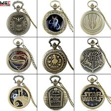 Antique Bronze Design Steampunk Pocket Watch Vintage Necklace Quartz Pendant New