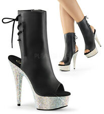 PLEASER BEJEWELED-1018DM-6 Women's Rhinestone Lace Up Zip Open Heel Ankle Bootie