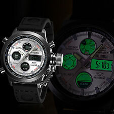 OHSEN Fashion Military Men Dual Time Quartz LED Analog Digital Sport Wrist Watch