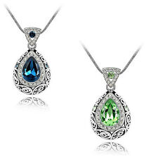 SILVER MIDNIGHT BLUE OR EMERALD GREEN TEARDROP AUSTRIAN CRYSTAL PENDANT
