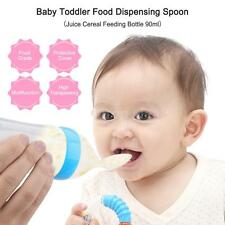 Infant Baby Silicone Feeding Bottle Nipple Spoon W/ Spoon Food Feeder 90ml U2U6