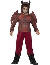 Child Boys Deluxe Scary Red Devil Halloween Fancy Dress Outfit Costume