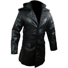 Mens Real Black Leather Matrix Goth Trench Coat Gothic T-23