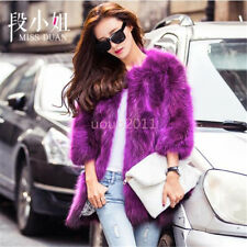 New Women Lady Fur Coat 3/4 Sleeves Mid Long Jacket Winter Fashion Fur Jacket Sz