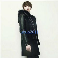 Mens Winter Wool Thick Duffel Fur Hooded Warm Toggle Coat Sleeve Leather Jacket