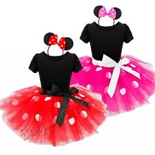 Baby Kid Girls Minnie Mouse Ballet Leotard Dress Tutu Skirt Headband Costume Set