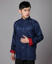 Men's Chinese Clothing Tang Suit Embroider Dragon Kungfu Long Sleeve Shirt