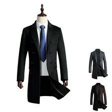 Mens Wool Coat Long Jacket Winter Double Breasted Reefer Jacket Trench Peacoat
