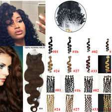 20INCH Body Wavy&curly Loop Micro Rings Beads 100% Remy Human Hair Extensions