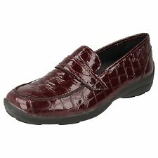 LADIES EASY B SHOES IN BURGUNDY LEATHER - STYLE 78246R BRISBANE 4E FITTING