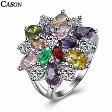 Colorful Cubic Zirconia Flower Ring Fashion Platinum Plated Crystal Jewelry Gift