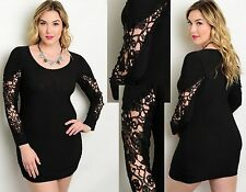 Womens Ladies Sexy Lace Applique Sleeves Bodycon Dress Plus size 14 16 18