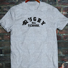 RUGBY OLD SCHOOL SPORTS MATCH GAME BALL VINTAGE Mens Gray T-Shirt