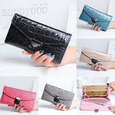 Women Crocodile Pattern Coin Purse Long Wallet Card Holders Handbag Clutch Bag