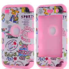 For iPod Touch 4th 5th Gen Hard Soft Rubber High Impact Armor Case Hybrid Cover