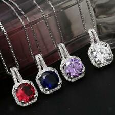Chic Large Faceted Crystal Zircon Ruby Sapphire Charm Pendant Necklace