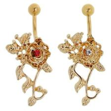 Crystal Flower Tassels Dangle Navel Belly Button Ring Bar Body Womens Jewellery