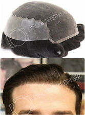 French Lace with Skin Toupee Mens Hair Replacement System Hair Piece For Men