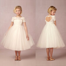 White Flower Girl Dress Lace Princess Pageant Party Bridesmaid Wedding Dresses