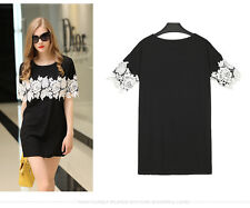 Woman Lace Dress Short Sleeve Black Skirt Loose Tops Female Casual Dress