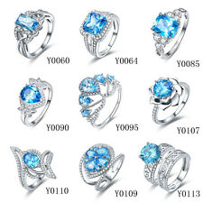 Free Box Wedding Swiss Blue Topaz 100% 925 Sterling Silver Rings Size 6 7 8 9 10