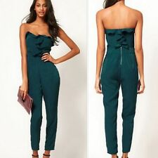Sexy Strapless Ruffles Women Casual Jumpsuit Overalls Romper Trousers Pants New