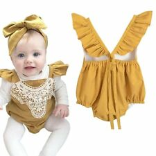 Newborn Baby Girls Clothes Set Romper Jumpsuit Bodysuit + Headband Outfit 12-18