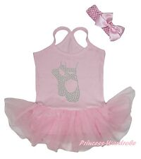 Ballet Flats Shoes Light Pink Cotton Halter Neck Bodysuit Girls Baby Dress 0-24M