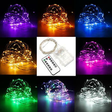 10M 100 LED Battery Operated Copper Wire String Fairy Light + Remote Controller