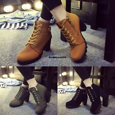 Womens Fashion High Heel Lace Up Ankle Boots Ladies Zipper Buckle Platform VGY