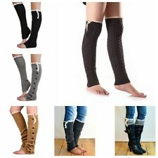 Women's Crochet Knit Button Lace Trim Boot Socks Legging Stockings Leg Warmers